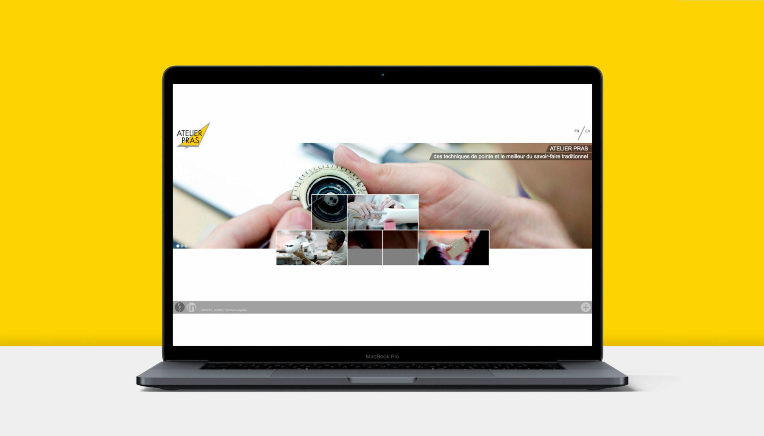 Website Atelier Pras auf Laptop ©Stéphanie Boisset