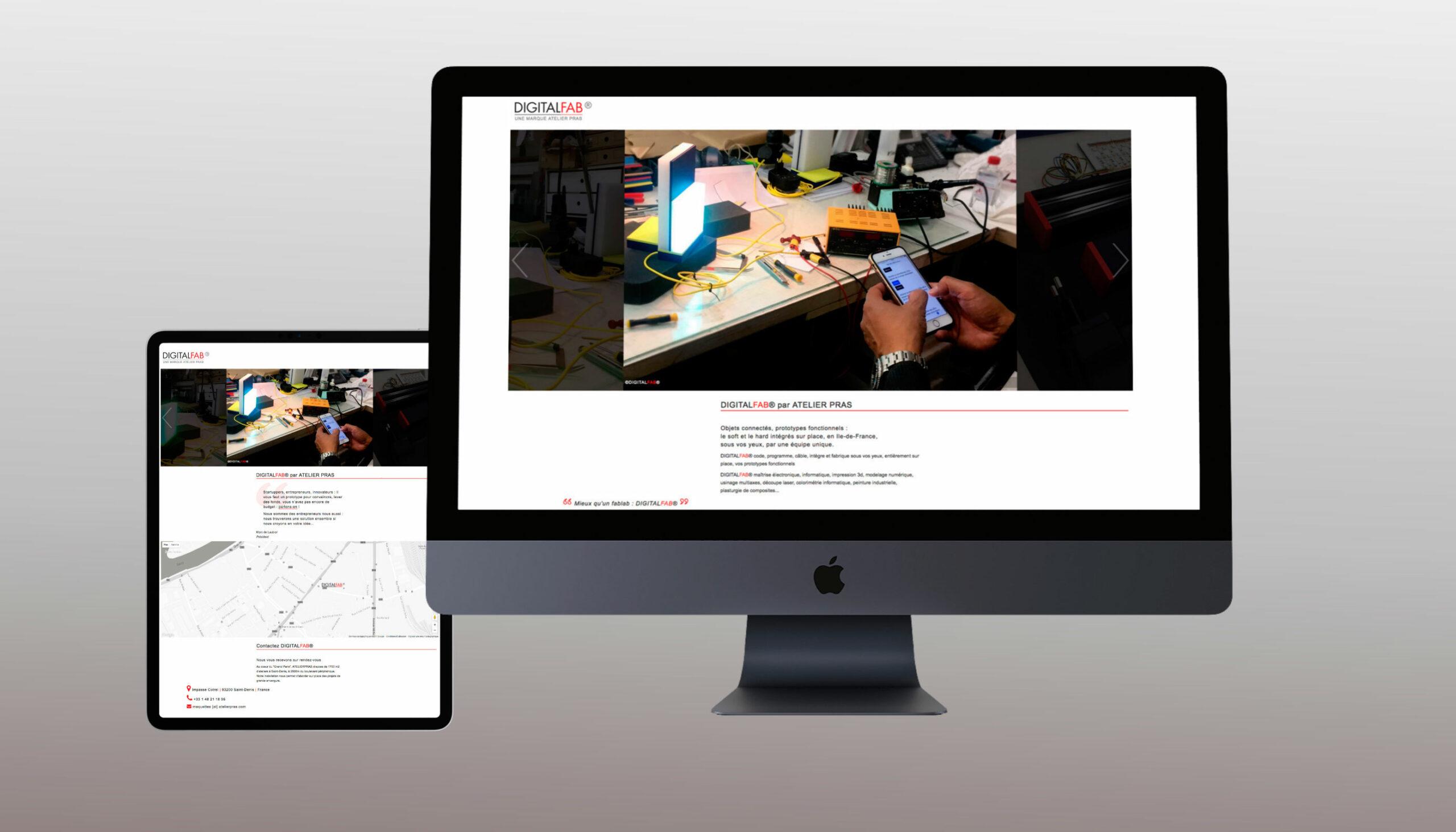 Responsive Website DigitalFab® auf Tablet und Desktop
