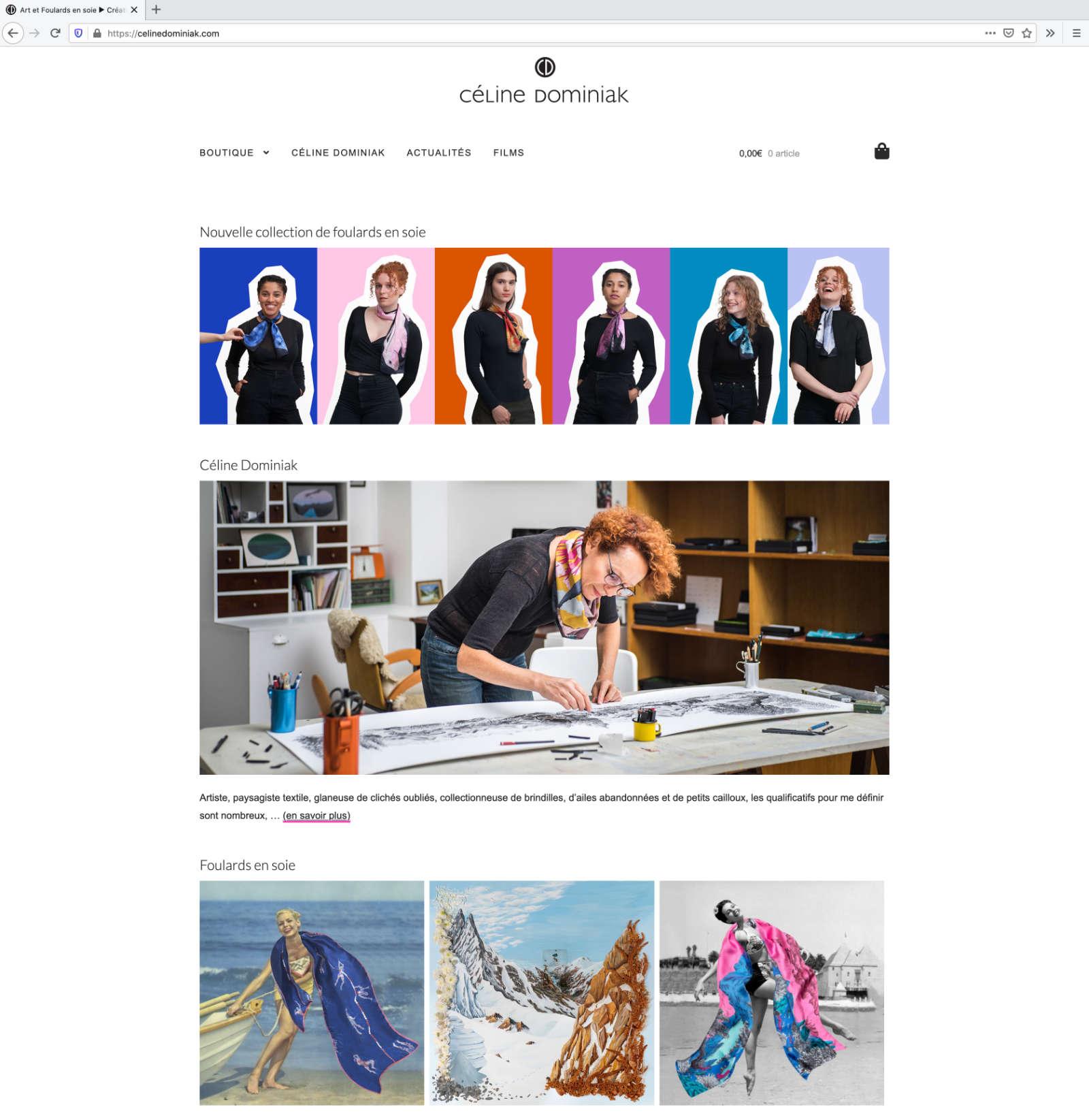 Screenshot der Website Céline Dominiak