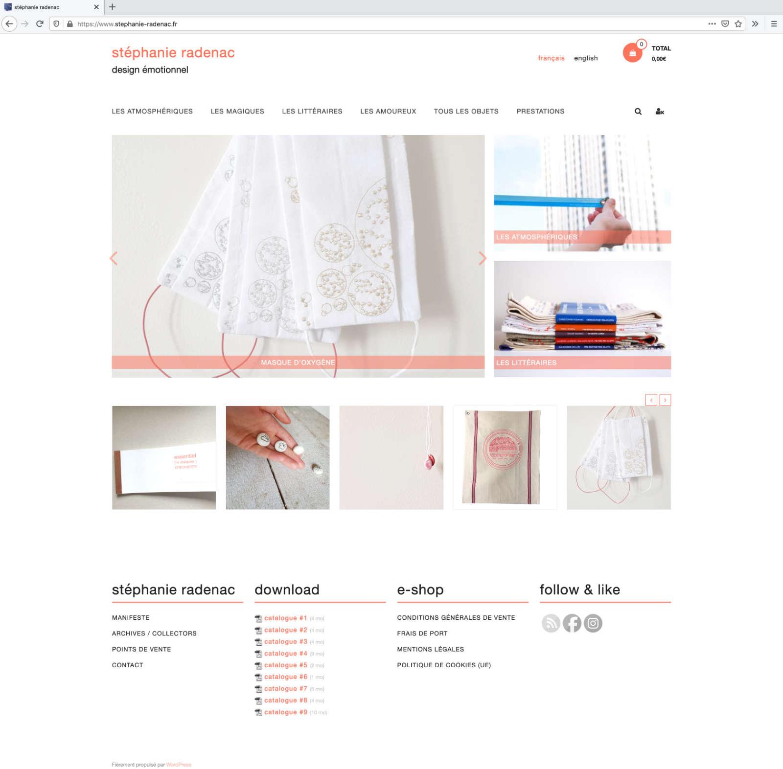 Online-Shop Stéphanie Radenac: Screenshot der Index seite