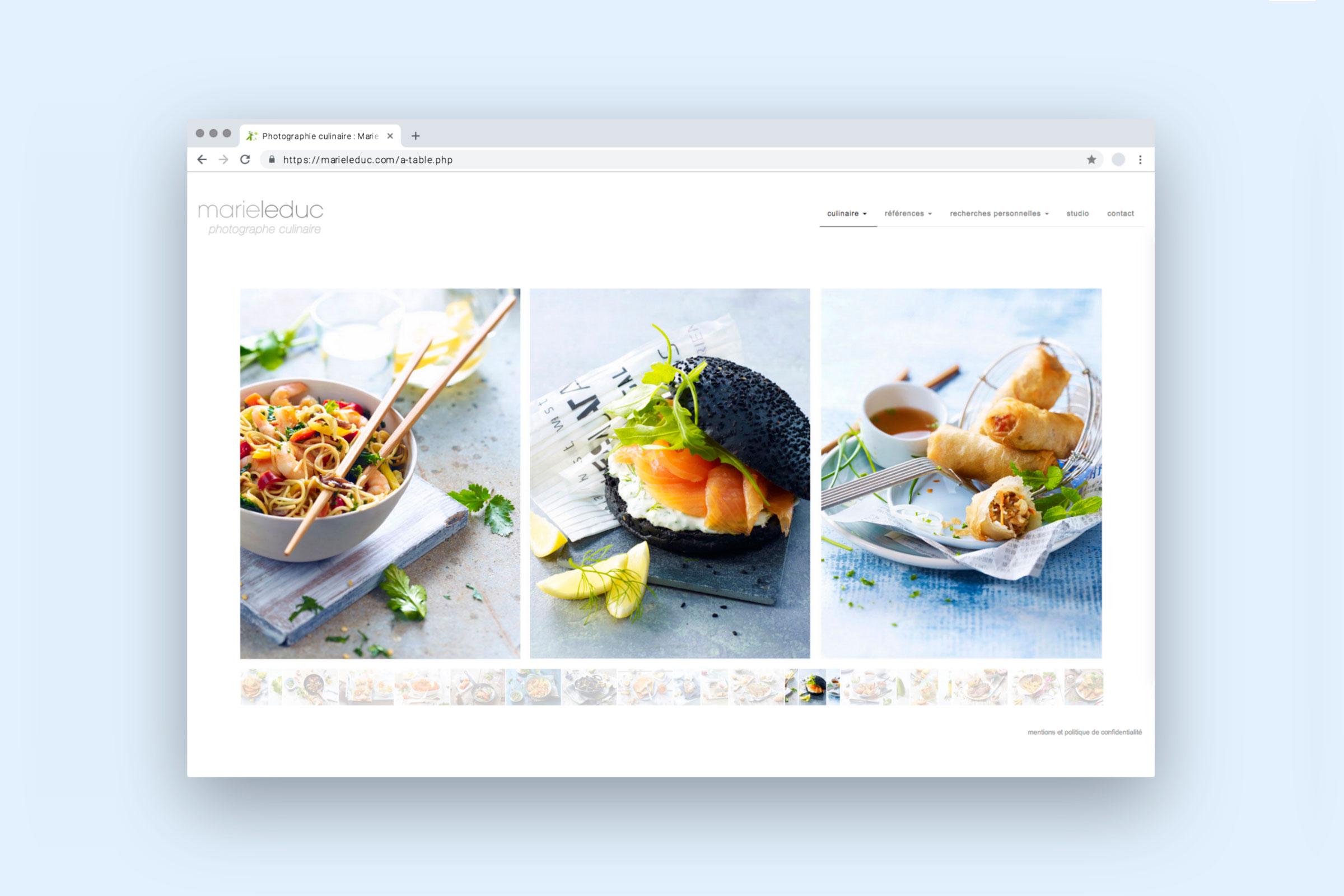 Kulinarische Kreationen von Marie Leduc fotografiert - Webdesign Stéphanie Boisset