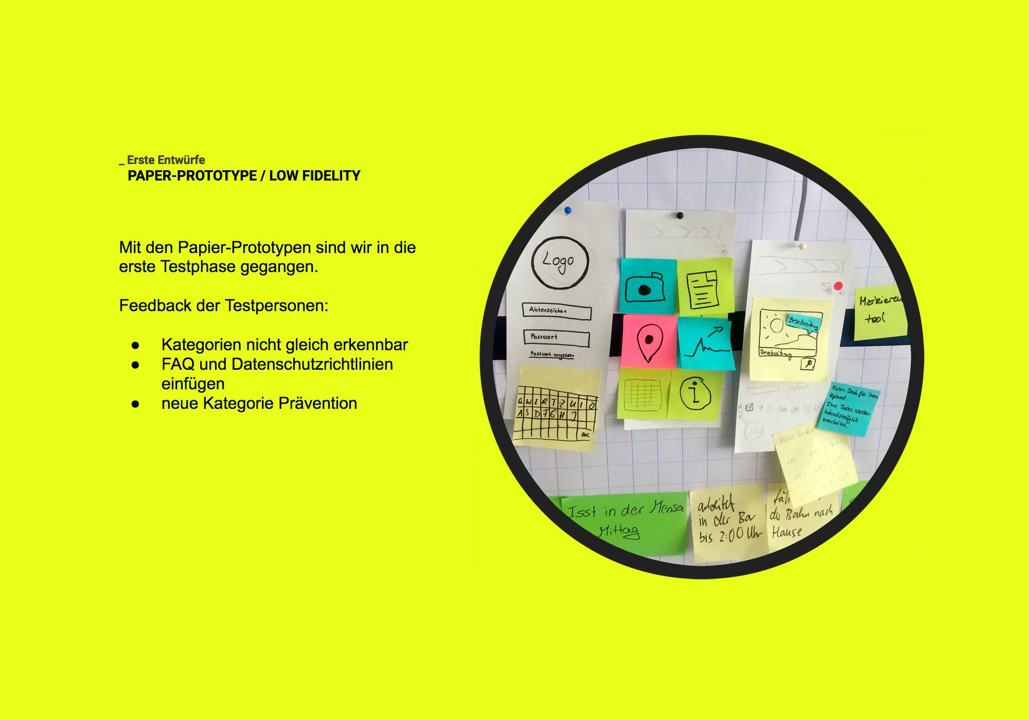 Präsentation UX/UI low fidelity Prototyp