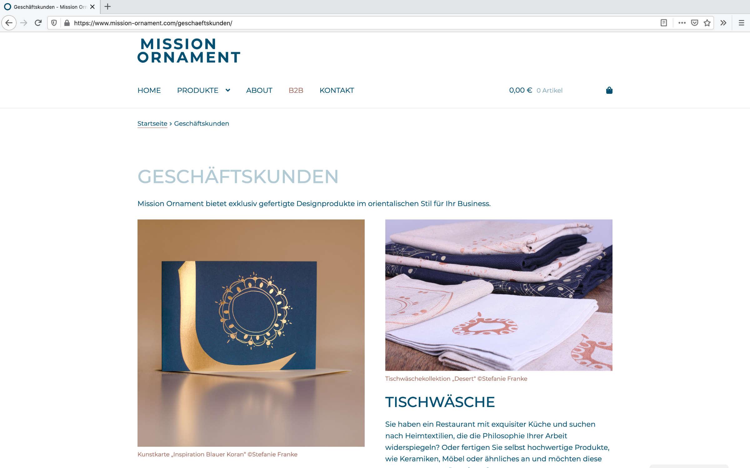Screenshot der B2B Seite von Mission Ornament