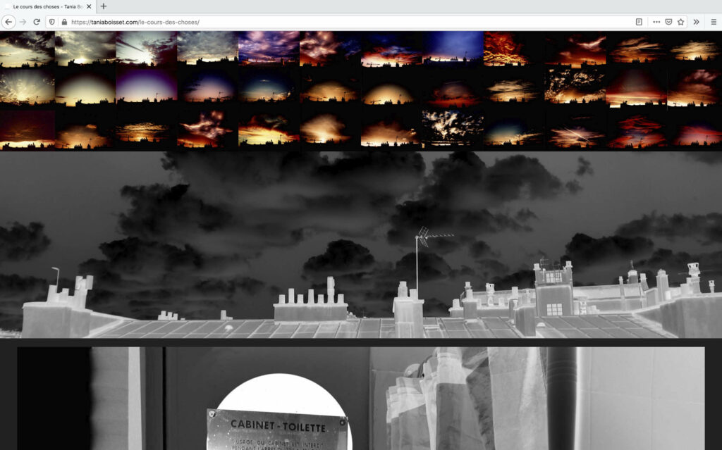 Vorschaubilder mit Sonnenuntergang Motiven und Schwarz-weißes Foto von den Dächern ©Tania Boisset