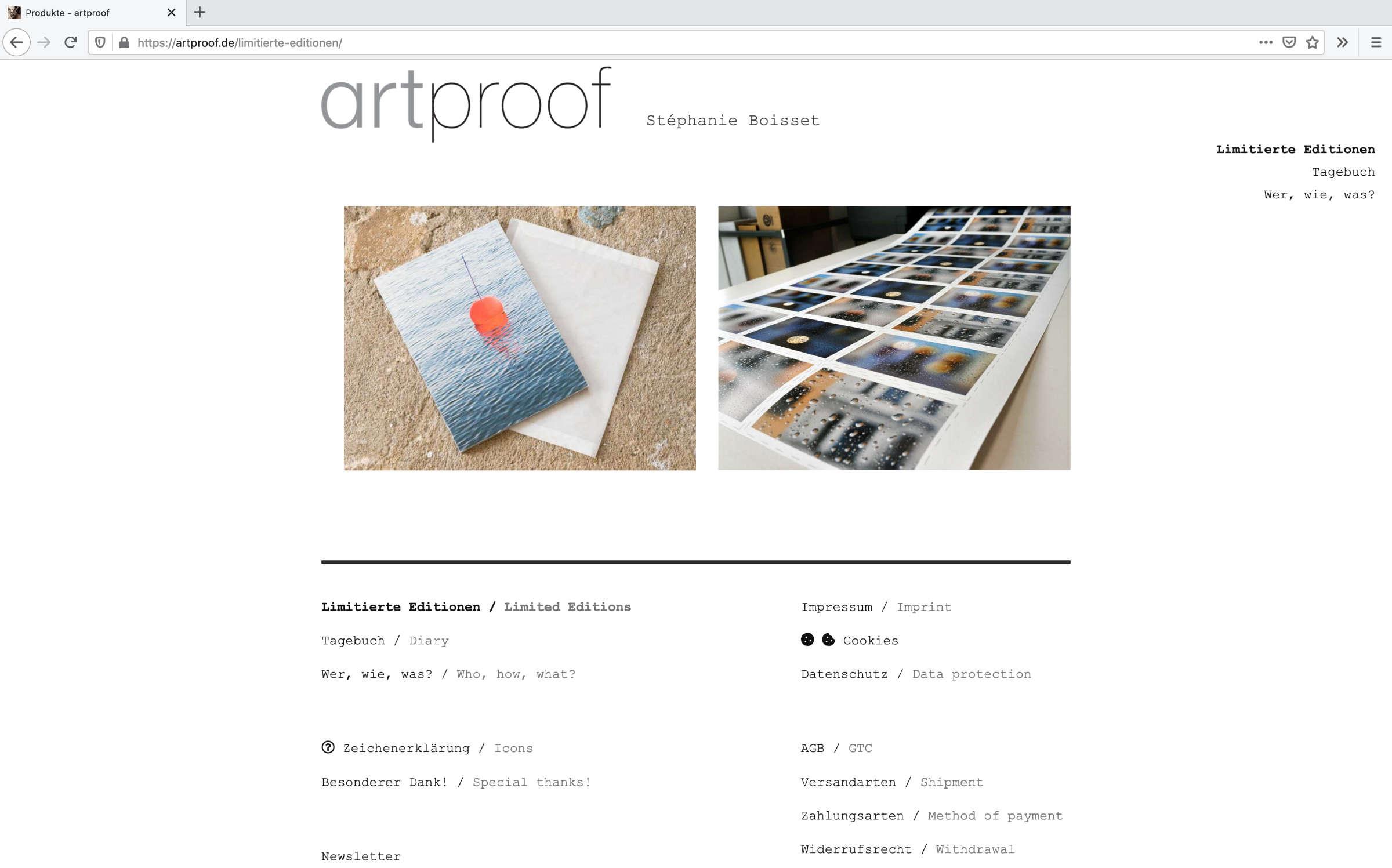 Limitierte Editionen auf der Website artproof.de
