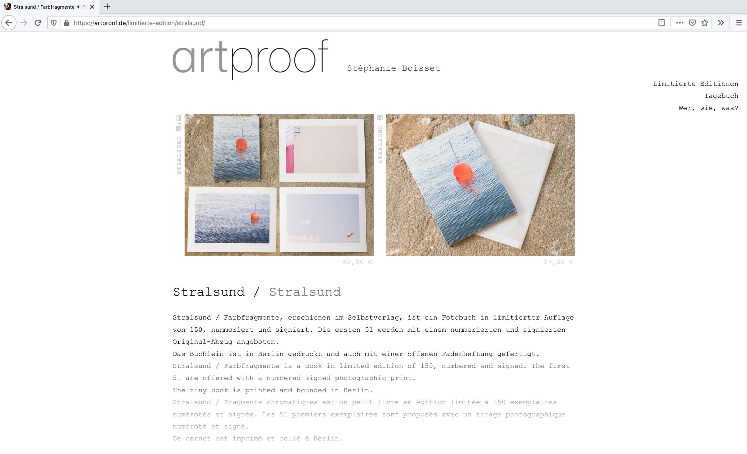 Screenshot von der Seite Stralsund auf artproof.de