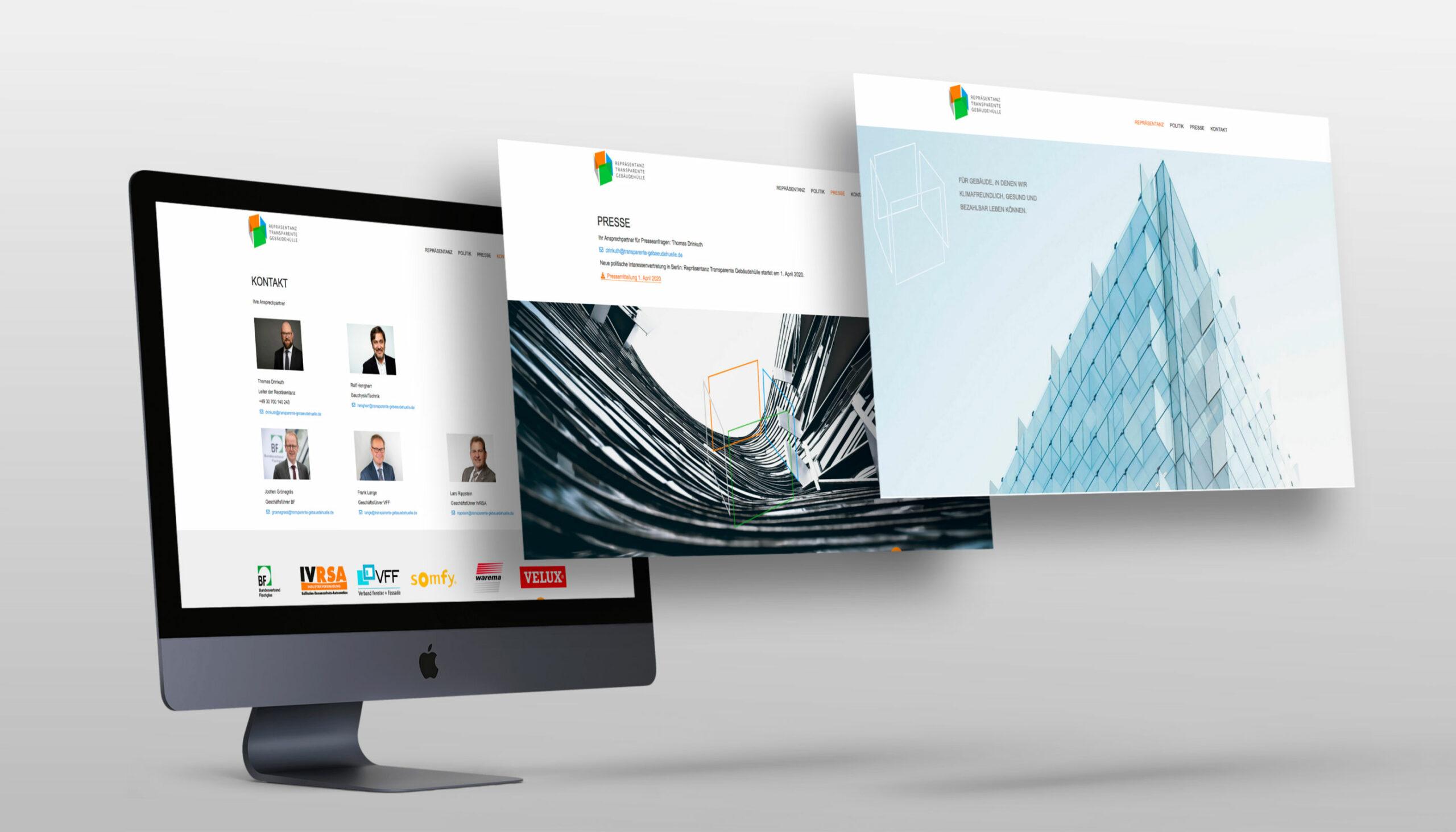 Screnshots der Website Repräsentanz Transparente Gebäudehülle