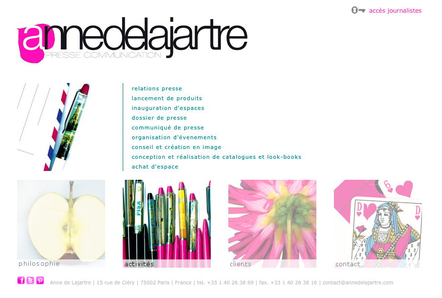 Screenshot der Website Anne de Lajartre - Version 2