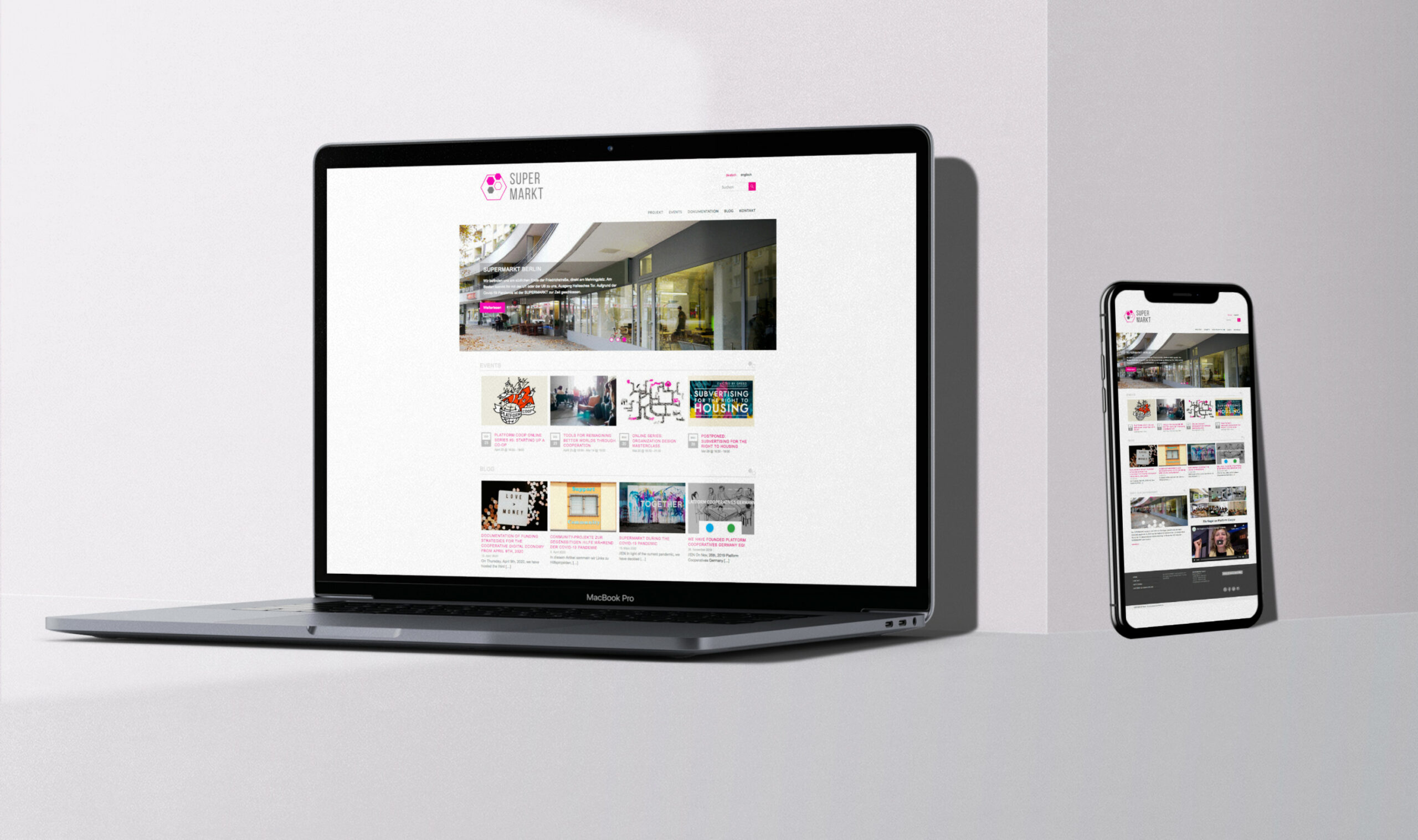 MacBook iPhone mockup der Website Supermarkt Berlin