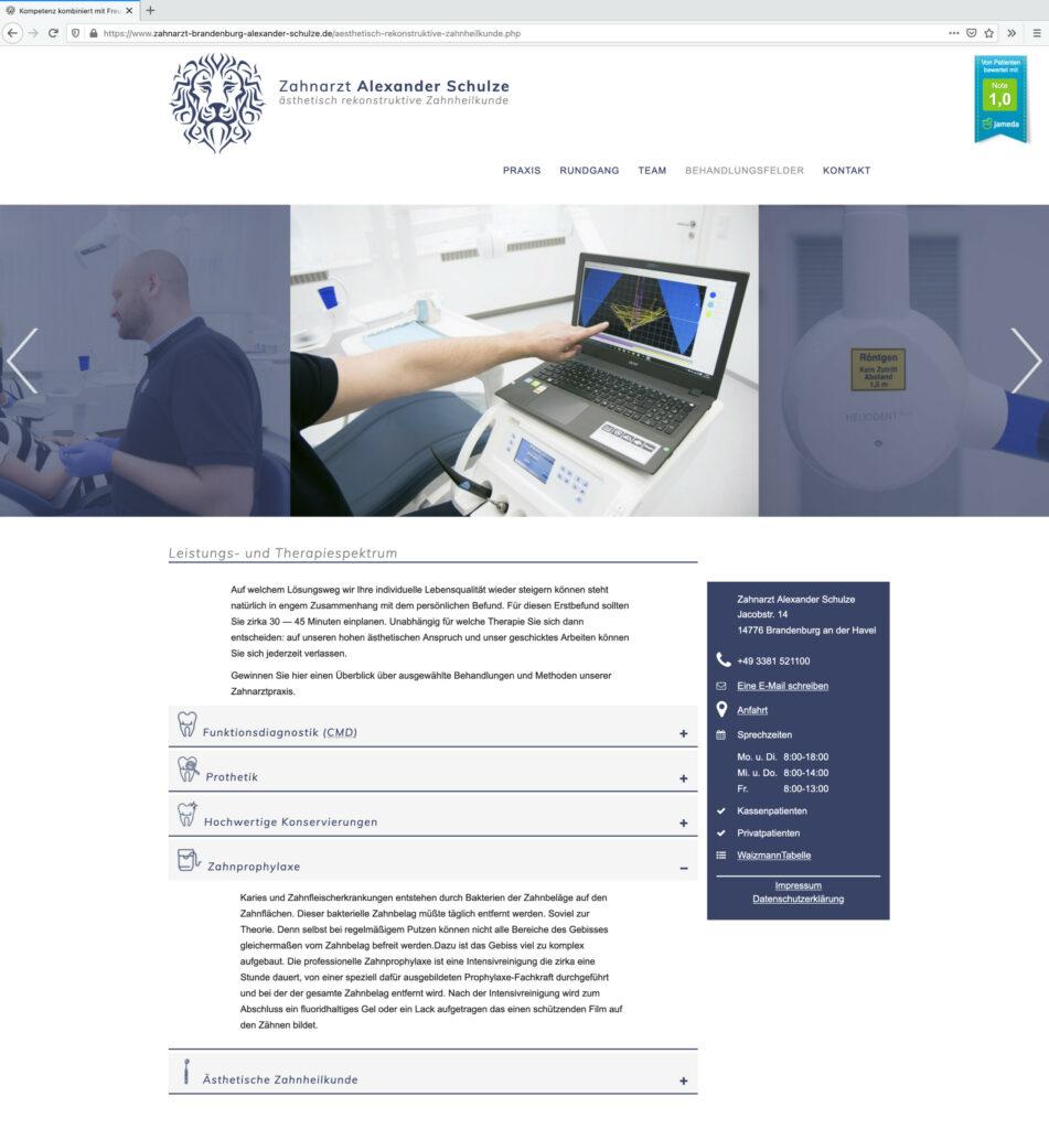 Website Zahnarztpraxis Alexander Schulze