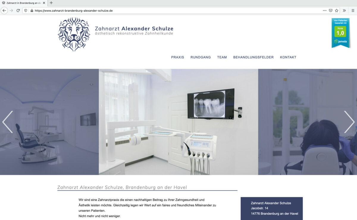 Index-Seite der Zahnarztpraxis Alexander Schulze