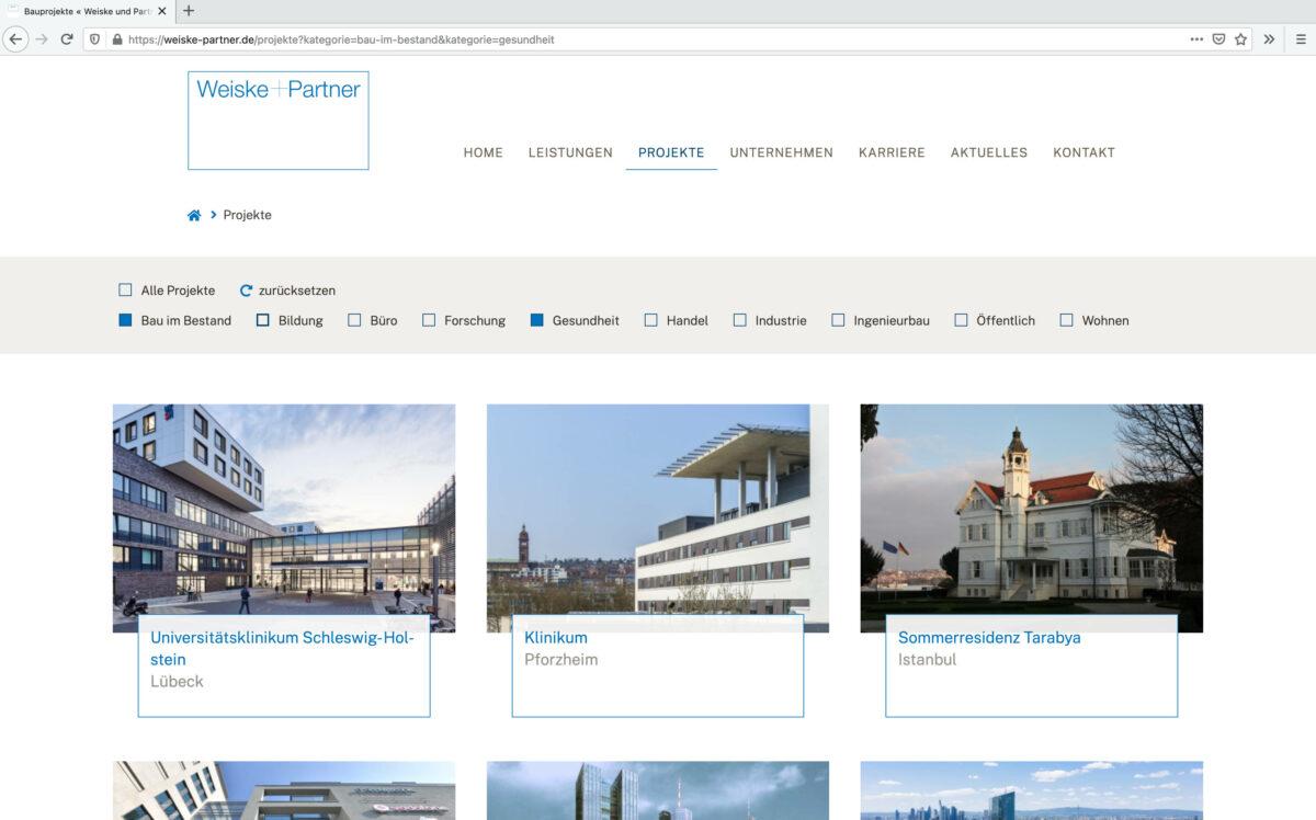 Seite Projekte von weiske-partner.de