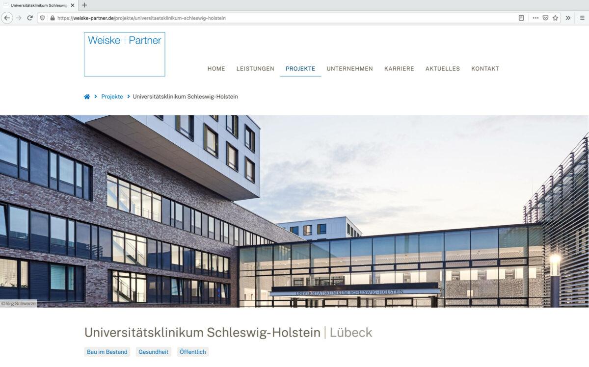 Screenshot der Website Weiske und Partner: Universitätsklinikum Schleswig- Holstein, Lübeck