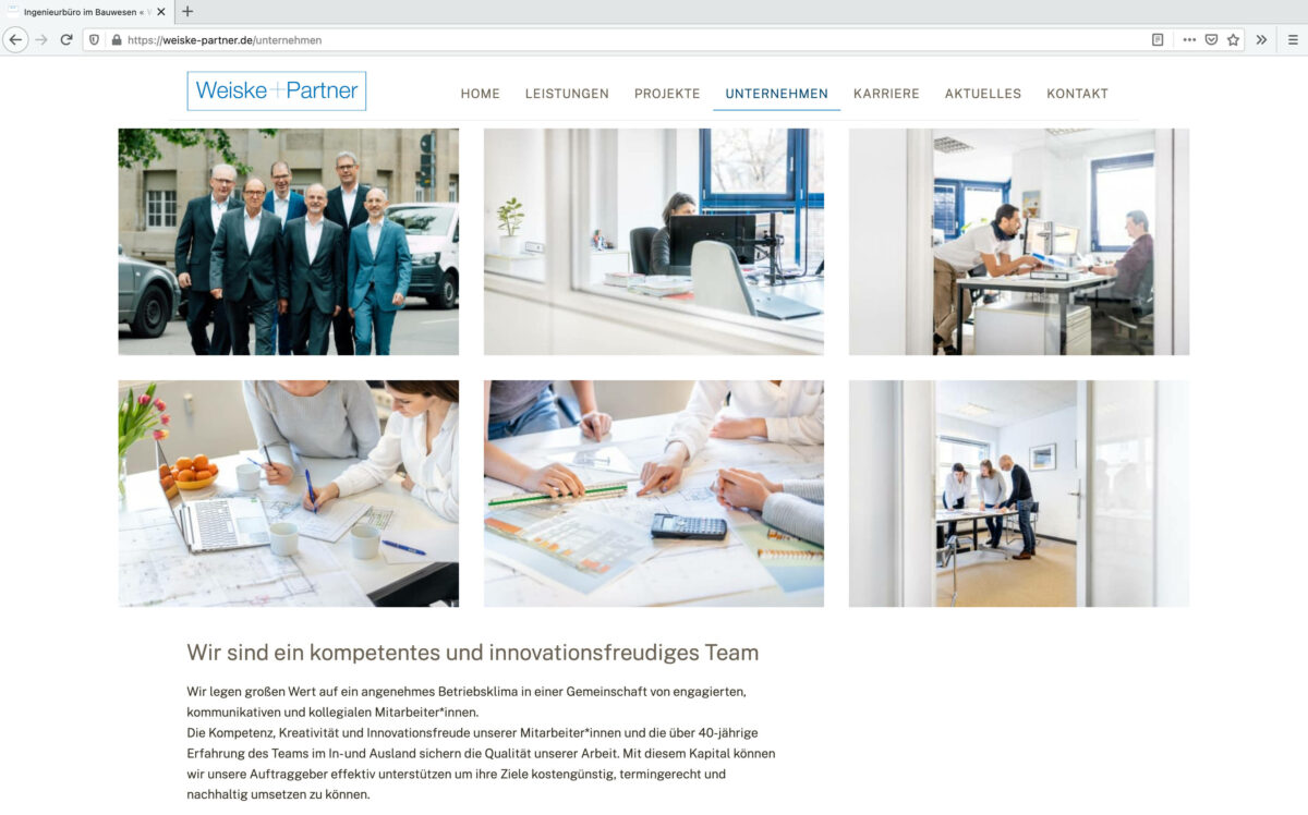 Screenshot der Unternehmens Seite Weiske und Partner